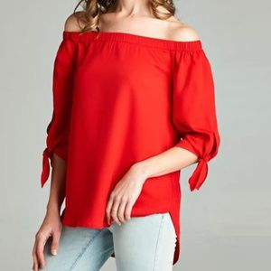 Staccato Red Off The Shoulder Blouse with Tie